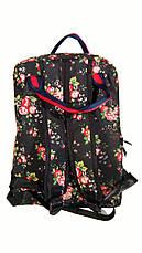 Сумка - рюкзак для школы и прогулок с цветочным принтом черный, фото 2