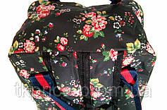 Сумка - рюкзак для школы и прогулок с цветочным принтом черный, фото 3