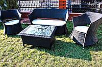 Комплект садовой мебели из ротанга (диван, кофейный столик, 2 кресла)
