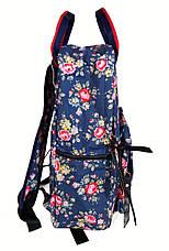 Сумка - рюкзак для школы и прогулок с цветочным принтом синий, фото 3