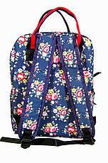 Сумка - рюкзак для школы и прогулок с цветочным принтом синий, фото 2
