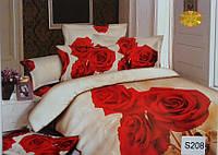 Сатиновое постельное белье евро 3D ELWAY S208