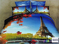 Сатиновое постельное белье евро 3D ELWAY S223