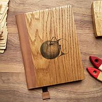 """Деревянный блокнот в твердом переплёте """"Яблоко"""" формат А5, фото 1"""