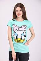 Модная молодёжная  футболка бирюзовая
