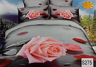 Сатиновое постельное белье евро 3D ELWAY S275