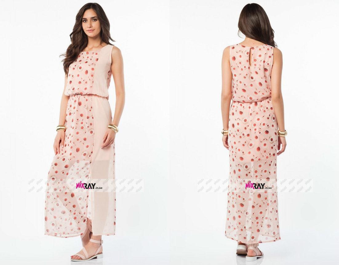 """Нежное женское платье """"шифон на подкладке"""" 44 размер норма"""