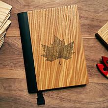 """Деревянный блокнот в твердом переплёте """"Кленовый лист"""" формат А5"""