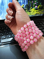 Бусы украшение на шею, руку из камня Розовый кварц