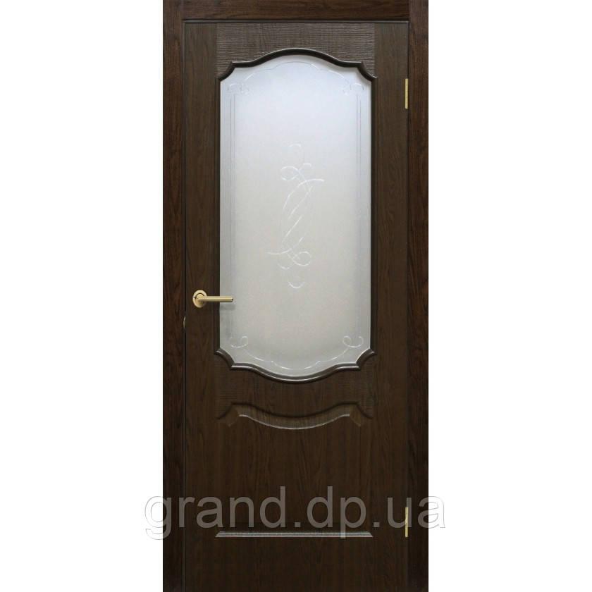 "Дверь межкомнатная ""Прима ПВХ"" с рисунком на стекле, цвет каштан"