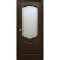 Двери межкомнатные Омис  Прима ПВХ с рисунком на стекле, цвет каштан