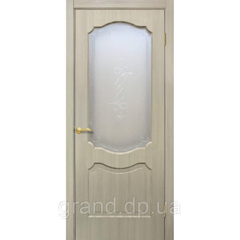 """Дверь межкомнатная """"Прима ПВХ"""" с рисунком на стекле, цвет дуб беленый"""