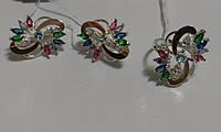 Комплект серебряный с золотом и разноцветными камнями Колорит, фото 1