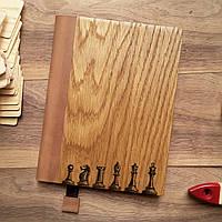 """Деревянный блокнот в твердом переплёте """"Шахматы"""" формат А5"""