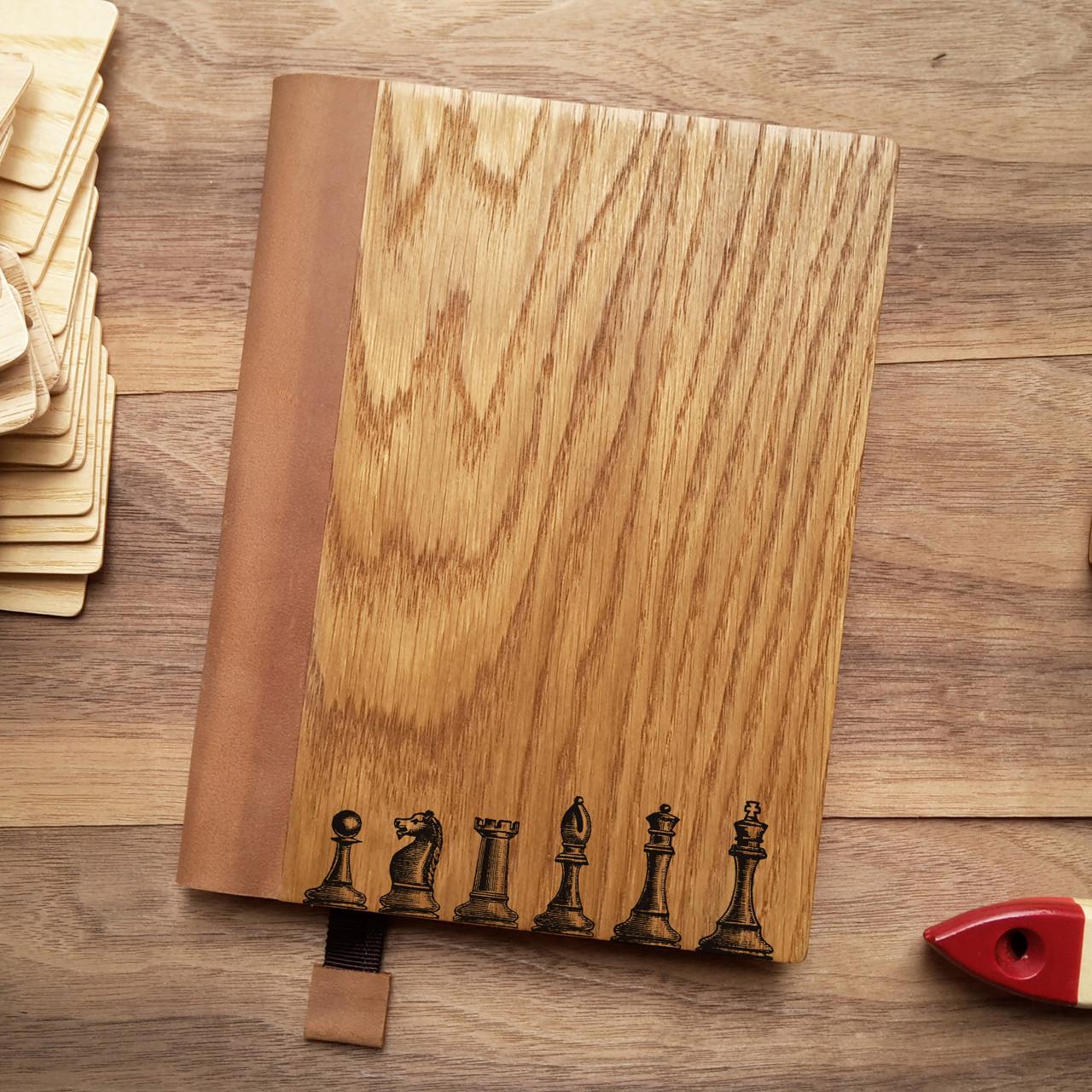 """Деревянный блокнот в твердом переплёте """"Шахматы"""" формат А5, фото 1"""