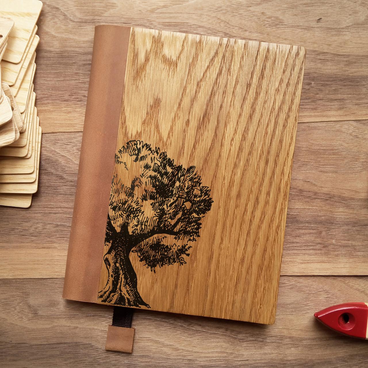 """Деревянный блокнот в твердом переплёте """"Символ жизни"""" формат А5, фото 1"""