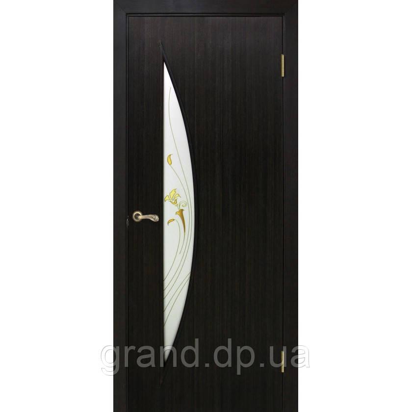 """Дверь межкомнатная """"Парус ПВХ"""" с рисунком на стекле, цвет венге"""
