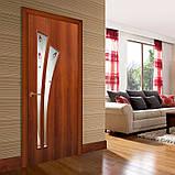 Двери межкомнатные Омис  Пальма ПВХ с рисунком на стекле, цвет орех, фото 2