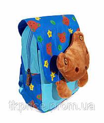 Детский рюкзак для мальчиков с мишкой голубой