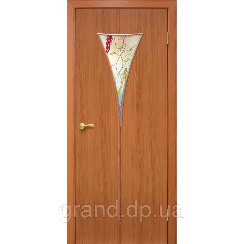 """Дверь межкомнатная """"Рюмка 2 ПВХ"""" с рисунком на стекле, цвет ольха"""