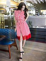 Красное котоновое платье в полоску с гипюром SM