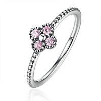 """Серебряное кольцо Пандора (Pandora) """"Розовые кружевные цветы"""""""