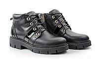 Женские черные ботинки на меху из натуральной кожи