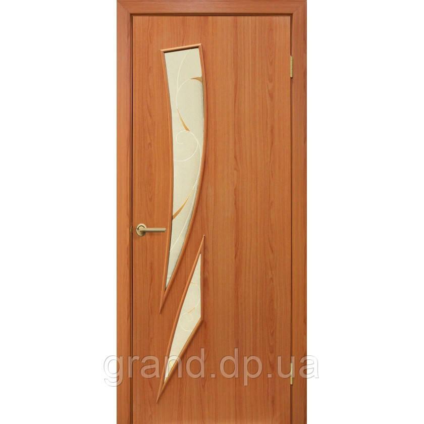 """Дверь межкомнатная """"Фиеста ПВХ"""" с рисунком на стекле, цвет ольха европейская"""