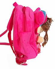 Детский рюкзак для девочек с куклой розовый, фото 3