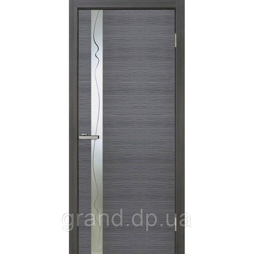 Двери  межкомнатные Z 02 ПВХ с вставкой стекла , цвет дуб ash line