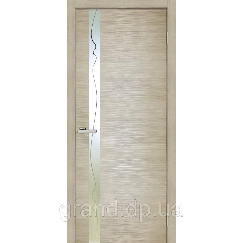 Двери межкомнатные  Z 02 ПВХ со стеклом, цвет  дуб Latte Line