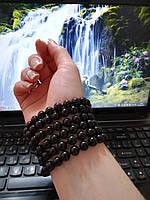Украшение из камня Черный агат на руку, бусы на шею