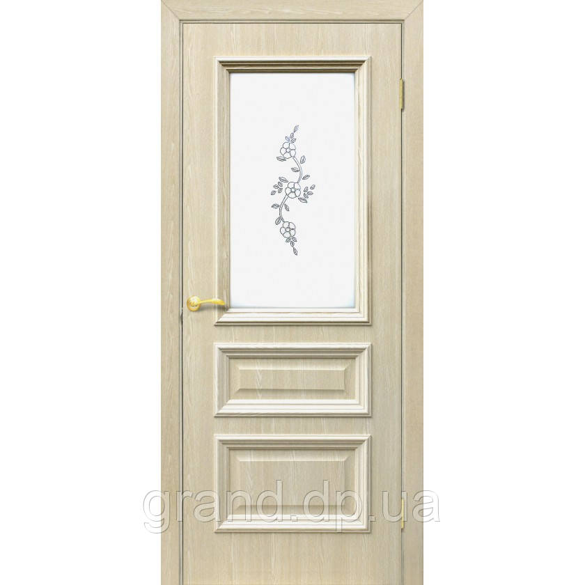 "Дверь межкомнатная ""Сан Марко 1.2 ПВХ"" с рисунком на стекле, цвет дуб меланж"