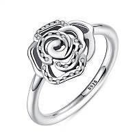 """Серебряное кольцо Пандора (Pandora) """"Сияющая роза"""""""