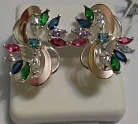Сережки зі срібла і золота з різнокольоровими цирконами Колорит, фото 1