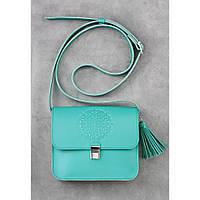 Женская кожаная сумка бирюзового цвета Лилу Тиффани
