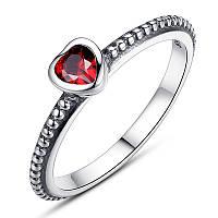 """Серебряное кольцо Пандора (Pandora) """"Деликатное сердце красное"""""""