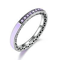 """Серебряное кольцо Пандора (Pandora) """"Фиолетовое лучезарное сердце"""""""