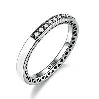 """Серебряное кольцо Пандора (Pandora) """"Белое лучезарное сердце"""""""