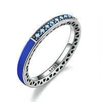 """Серебряное кольцо Пандора (Pandora) """"Синее лучезарное сердце"""""""