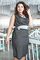 """Элегантное женское платье """"Креп-шифон"""" на подкладке, пояс в комплекте 46, 48 размер норма"""