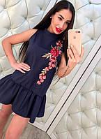 Летнее короткое платье с оборкой и вышивкой
