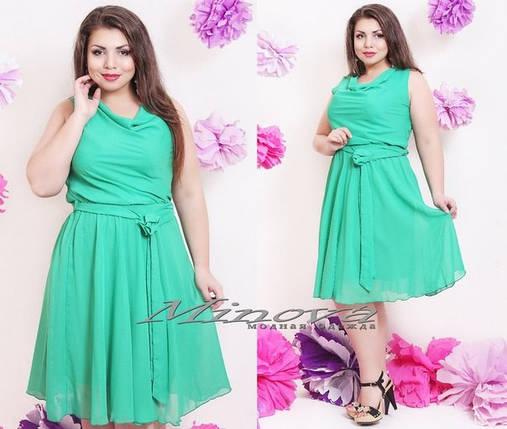 """Уютное летнее женское платье """"легкий шифон на подкладке"""" пояс в комплекте 48 размер норма, фото 2"""