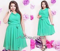 """Уютное летнее женское платье """"легкий шифон на подкладке"""" пояс в комплекте 48 размер норма"""