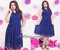 """Нежное летнее женское платье """"легкий шифон на подкладке"""" синее поясок в комплекте 48 размер норма"""