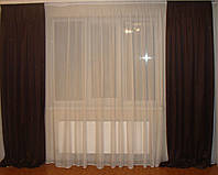 Комплект штор Венге и тюль шифон, фото 1
