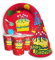 """Набор для  Дня Рождения универсальный """"Тортик """" Тарелки -10 шт. Стаканчики - 10 шт. Колпачки - 10 шт."""