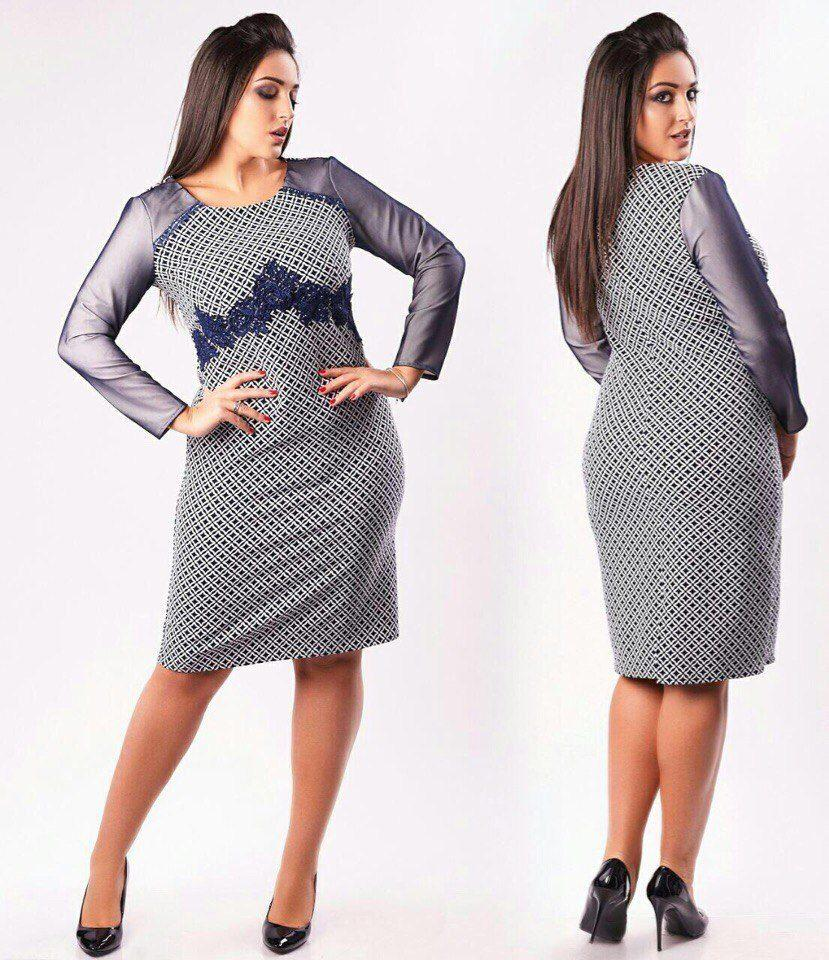 """Шикарное женское платье с кружевом """" Хлопок+стрейч"""" ( приятная к телу ) 48, 50, 52, 54 размер батал"""