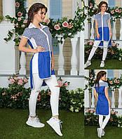 Летняя удлиненная рубашка туника женская 44