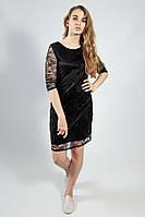 Платье гипюровое длинный рукав черное